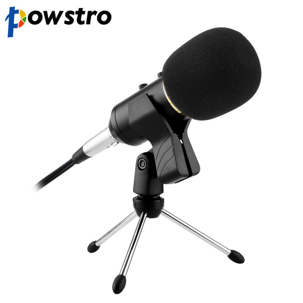 Powstro USB Condenser Professional Microphone with Volume Adjustment Reverberation for laptop Video Recording Karaoke Studio