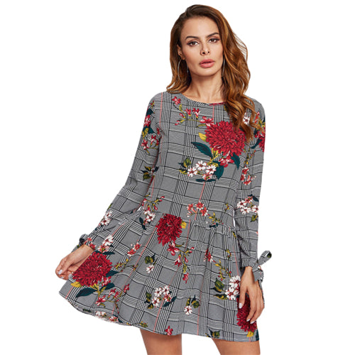 SHEIN Tie Cuff Floral and Plaid Drop Waist Fall Dress Women Multicolor Long Sleeve Tiered Layer A Line Casual Dress