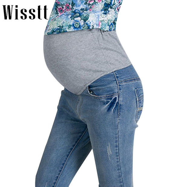 Wisstt Hot Sale New Fashion Women Maternity Jeans Pregnant Clothes Prop Jeans Pants Trousers Clothing For Pregnancy Clothes