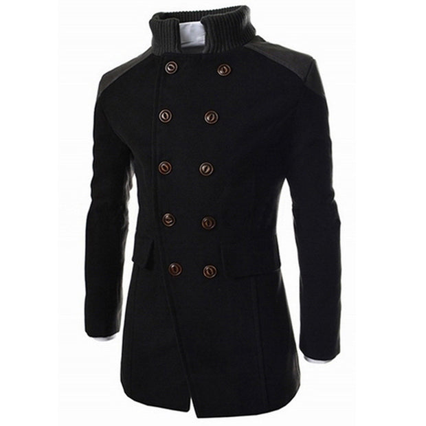 Men Jacket - Warm Winter Trench Long Outwear Button Smart Overcoat