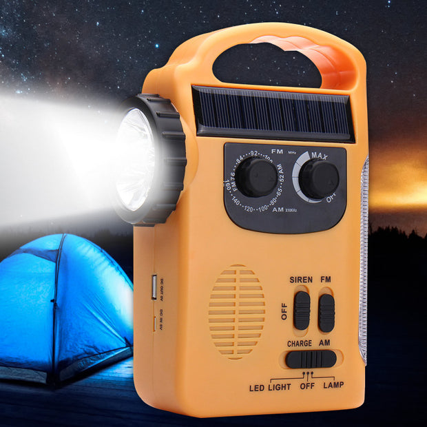 Mising Solar Dynamo Powered Emergency Radio Hand Crank AM/FM 5 LED Flashlight USB Phone Charger