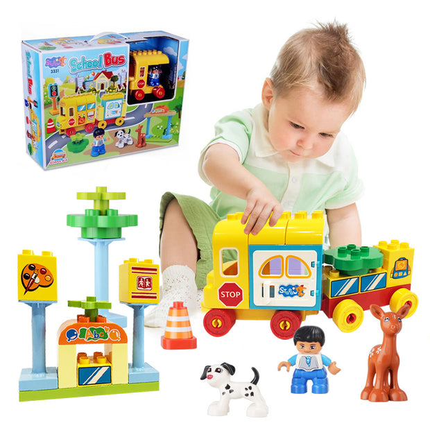 School Bus Building Kits Construction Toys with Boy Dog Deer and Traffic Signal, Play Vehicles Car Truck Building Blocks Toys for Baby Toddlers Kids