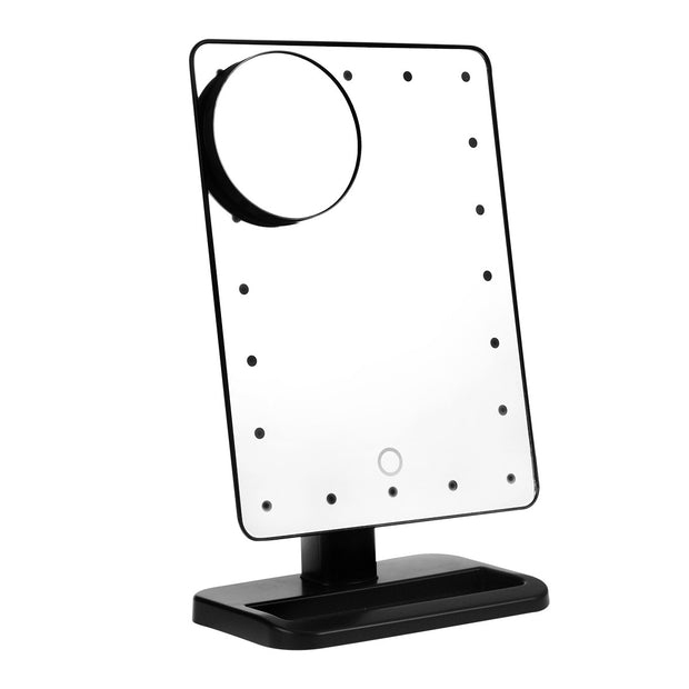 Rectangular 20 LED Lighted Vanity Mirror Touch Screen Battery Powered with Magnification Spot Mirror