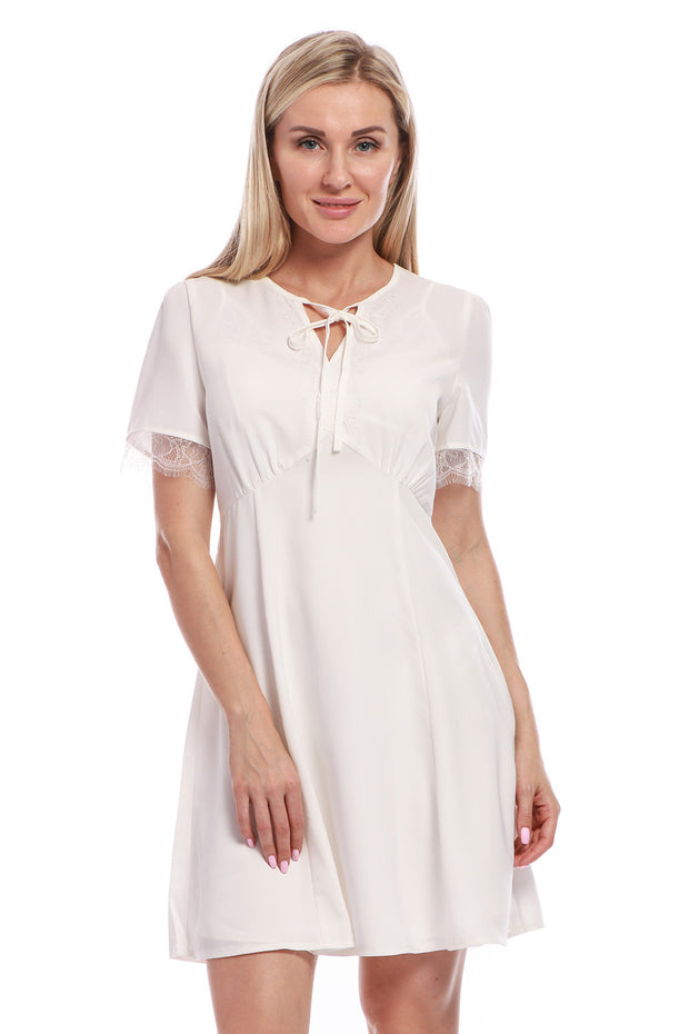 Vintage Inspired Classic Chiffon Short Sleeve Knee Length wome's Dress With Lace and Keyhole