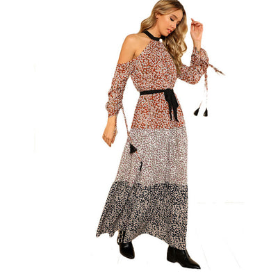 SHEIN Halter Cold Shoulder Color Block Calico Dress Women Long Sleeve Belted Floral Print Maxi Dress 2018 Vacation Long Dress