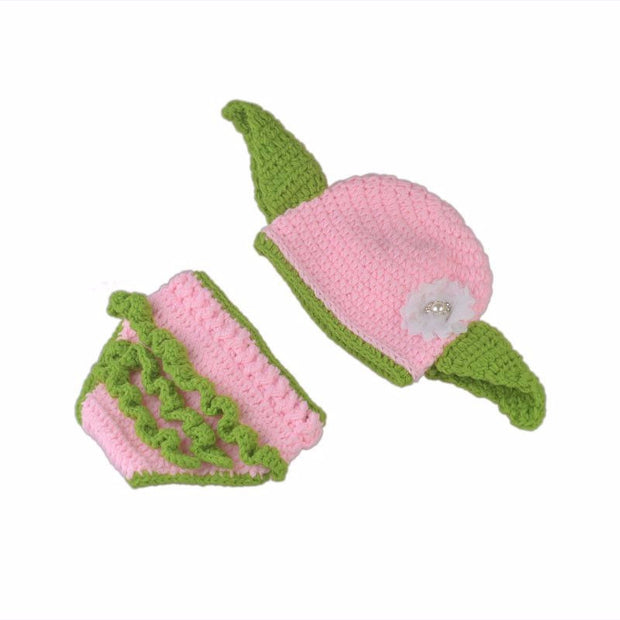 Cute Warm Cosplay Winter Baby Newborn Handmade Knitted Green and Pink Photography Costume Photo Suit