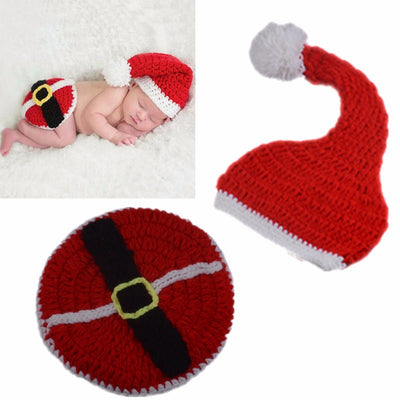 Cute Infant Kids Christmas Hat Knitted Handmade Soft Warm Baby Photo Props
