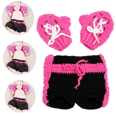 Newborn Cospaly Rose & Baby Suit Boxing Champion Crochet Gloves