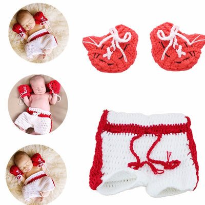 Kawaii Casual Infants Shower Knitted Shorts Crochet Gloves Red and White Baby Suit Cospaly Clothing Photography Props