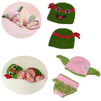 Cute Warm Cosplay Winter Baby Newborn Handmade Knitted Green and Pink Photo Suit Photography Costume