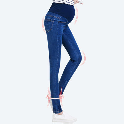 Pregnant Women Elastic Stretchy Cotton Jeans Denim Pencil Pants Maternity Trousers Elastic Waist Comfortable Plus Size Clothing