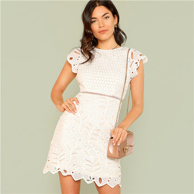 SHEIN Zip Back Crochet Lace Dress 2018 Summer Round Neck Cap Sleeve Zipper Sheath Dress Women White Solid Party Going Out Dress