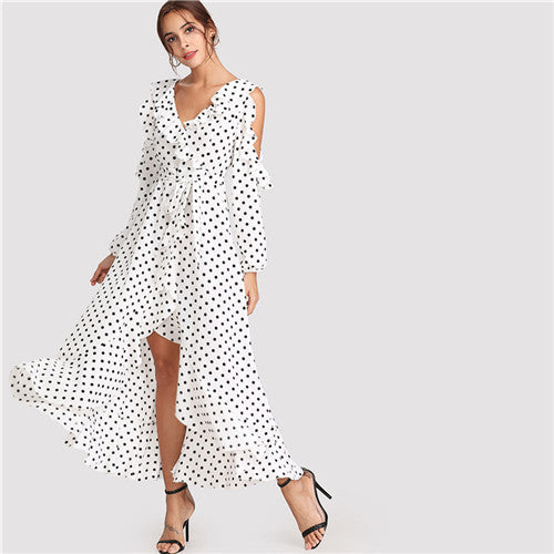 SHEIN Ruffle Long Sleeve V Neck Belted Lady Maxi Dress 2018 Summer Beach Vacation Crisscross Back Asymmetrical Polka Dot Dresses