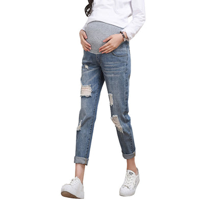 Nursing Jeans For Pregnant Women Clothes Maternity Pants Clothing Elastic Waist Denim Belly Pregnancy Trousers Loose Pants 2018