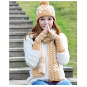 Girls Autumn Winter Knitted Hat/Scarf/Gloves Set