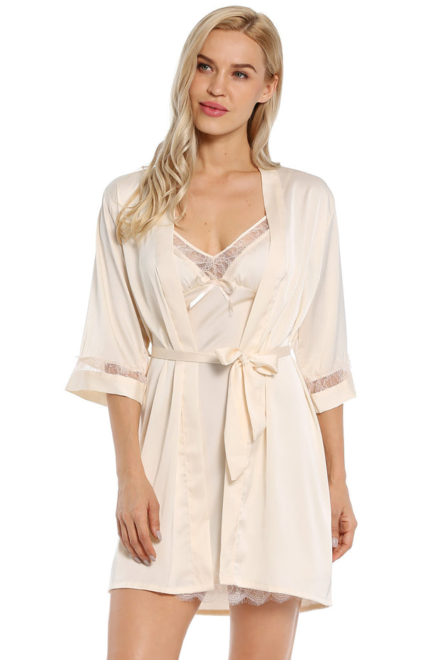 Women's Long Satin Robe Bridal Kimono Lace Pajamas Sleepwear Robe ONLY Size up