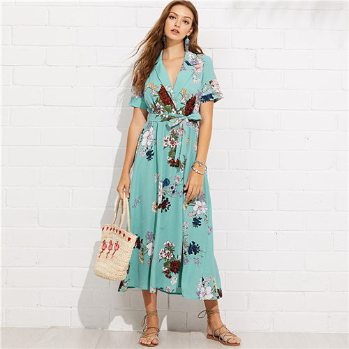 SHEIN Turquoise Vacation Boho Bohemian Beach Notch Collar Wrap Front Belted Botanical Dress Summer Women Short Sleeve Maxi Dress