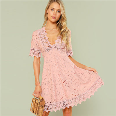 SHEIN Pink Vacation Boho Bohemian Beach Contrast Lace Trim Eyelet Embroidered High Waist V Neck Dress Summer Women Casual Dress