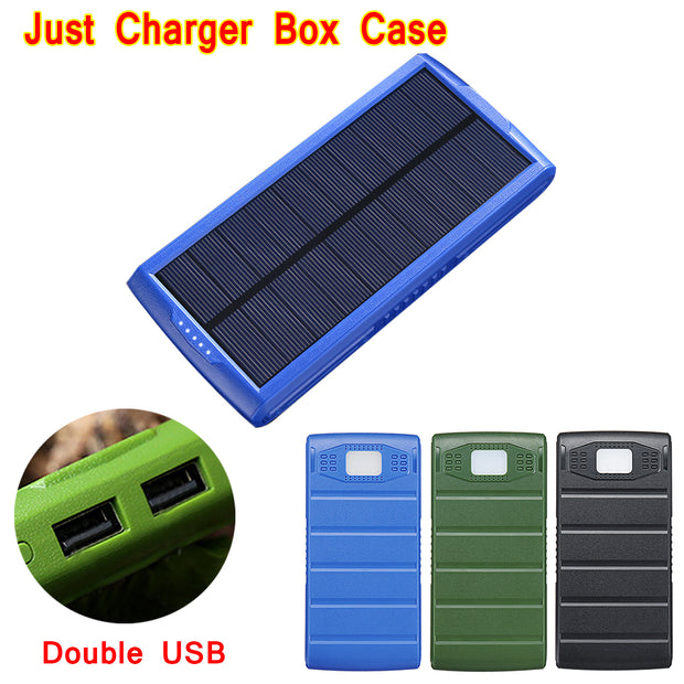 Solar LED Dual USB Power Bank DIY 2 x 7566121 External Battery Charger Box Case