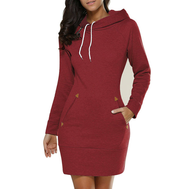 MysteryPark Women Dresess 2017 New Autumn Winter Hooded Long Sleeve Vestido Dress Girls Bandage Solid Dresses Plus Size