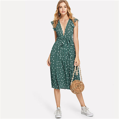 SHEIN Green Vacation Boho Bohemian Beach Polka Dot Plunging Neck Ruffle Armhole Knot Belted Dress Summer Women Casual Dress