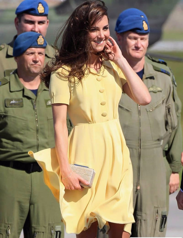New Yellow Solid Kate Middleton Princess Dress