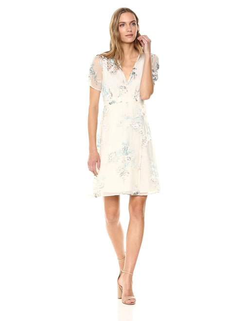 Women's Melody Short Sleeve V Neck Mini Dress, Cream Blush Floral, Small - bestofclothingstore