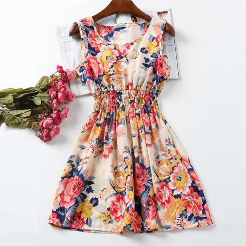 Mini Chiffon Sundress with Sleeveless Print Beach Floral Tank 25 Colors Options - bestofclothingstore
