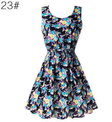 Mini Chiffon Sundress with Sleeveless Print Beach Floral Tank 25 Colors Options - Best of Clothing