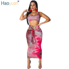 HAOYUAN Sexy Two Piece Set Club Outfits Tie Dye Crop Top and Midi Skirt Set Bodycon 2 Piece Summer Clothes Women Matching Sets - bestofclothingstore