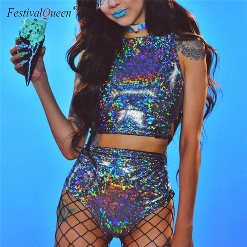 Festival Queen Holographic Crop Top and Hot Shorts Women 2 Piece Sets Sexy Lace Up Festival Party Rave Clothing Two Piece Set - bestofclothingstore