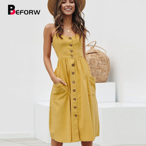 BEFORW Women Summer Dress 2019 Sexy Straps Bohemian Floral Tunic Beach Dress Sundress Pocket Red Dresses Female - bestofclothingstore