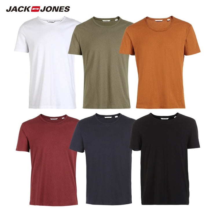 JackJones Men's Cotton T-shirt Solid Colors t shirt Top Fashion tshirt More Colors 3XL 2019 Brand New Shirt Menswear 2181T4517 - bestofclothingstore