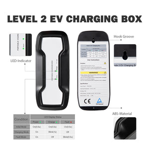 BESEN EV Charger Portable EVSE Level 2 Plug 5.5m, 220V-240V, 16A, Home Electric Vehicle Charging Station Compatible with All EV Cars