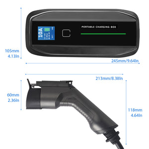 EMOVETECH EV Charger Portable EVSE Level 2  5m, 220V-240V, 10A/16A, Home Electric Vehicle Charging Station Compatible with All EV Cars