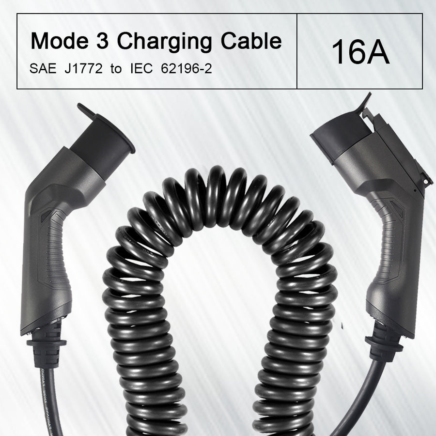 EMOVETECH Coiled EV Charging Cable for EV Charger Type 1 to Type 2