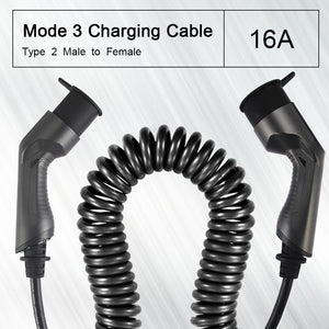 EMOVETECH Coiled EV Charging Cable for EV Charger Type 2 Male to Female