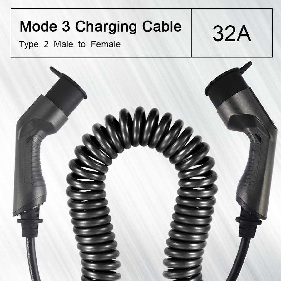 BESEN Coiled EV Charging Cable for EV Charger Type 2 Male to Female