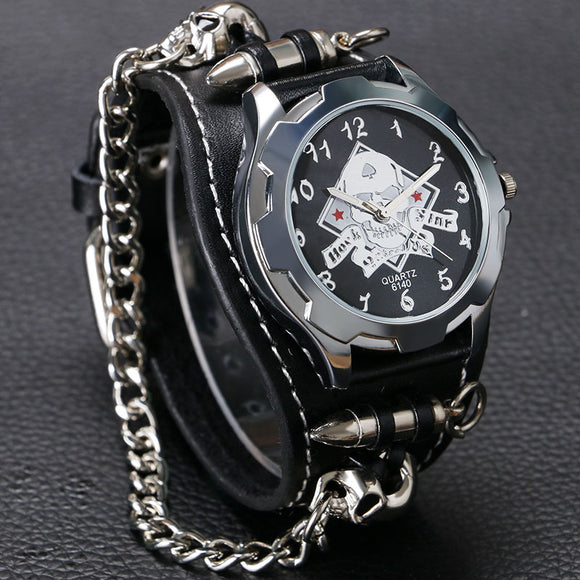 Punk Leather Wrist Watch with Chain - Gothic Fix
