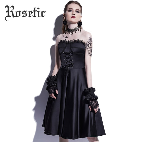 Rosetic Strapless Dress - Gothic Fix