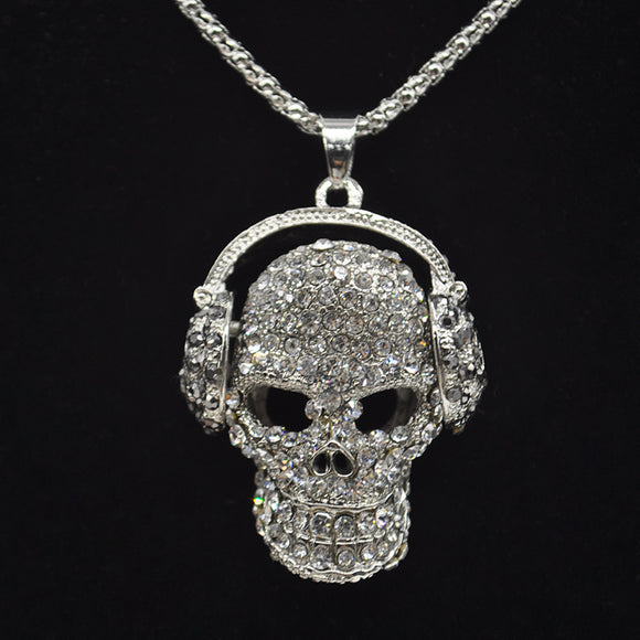 Crystal Skulls On Headphones Necklace - Gothic Fix