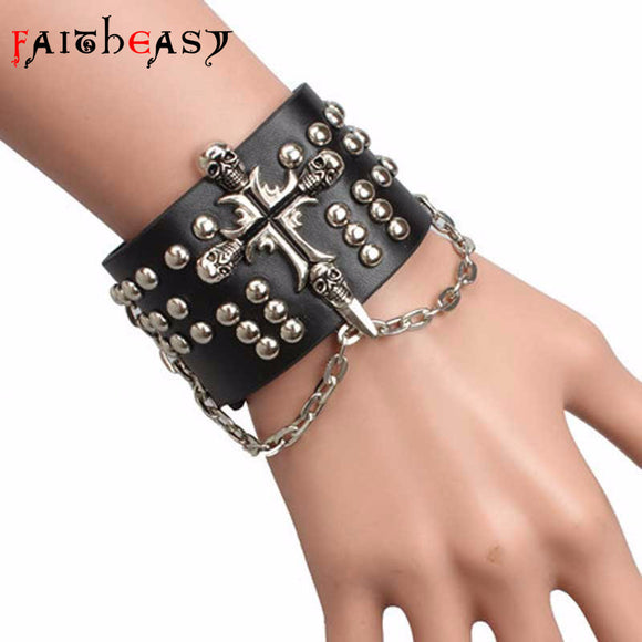 Cross Leather Bracelet - Gothic Fix