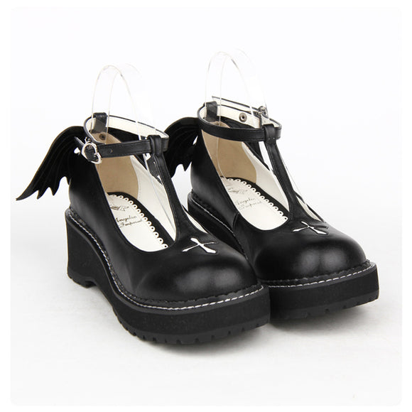 Japanese Gothic Lolita Cosplay Ankle T-strap Shoes - Gothic Fix