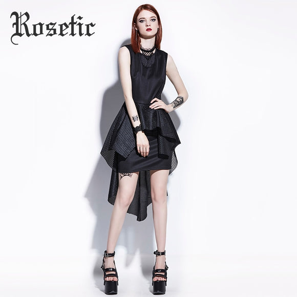 Asymmetrical Black Fashion Dress - Gothic Fix