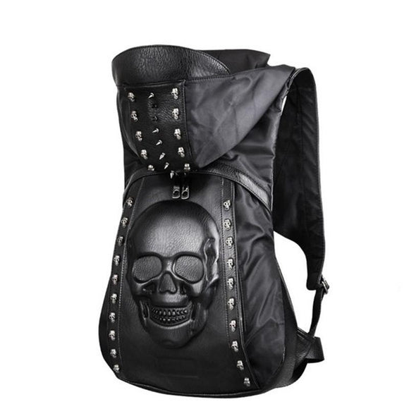 3D Leather Backpack Skull and Lion - Gothic Fix