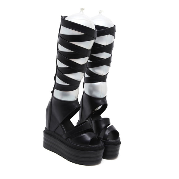 Black Strap Knee High Boots - Gothic Fix