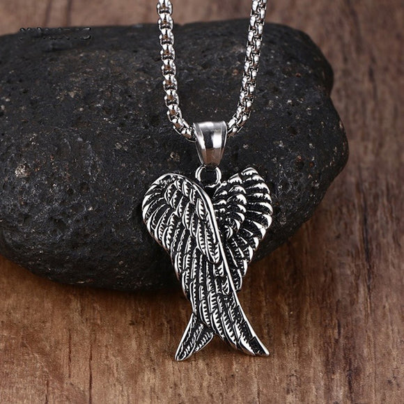 Gothic Vintage Double Angel Wings Pendant - Gothic Fix