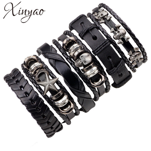 6pc Set Black Genuine Leather Bracelet - Gothic Fix
