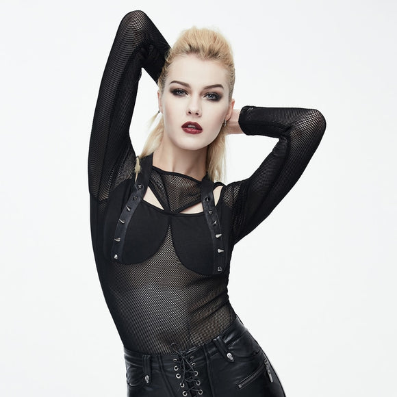 Gothic Style Rivet Hollow Transparent Bodycon - Gothic Fix