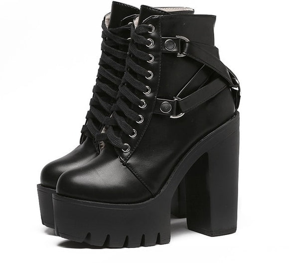 Gothic Faux Leather Cross Strap Ankle Boots - Gothic Fix